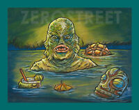 Swamp Creature Tiki Bar Art Lowbrow From The Black Lagoon Cocktail Drink Print