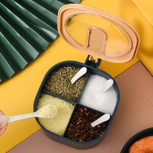 4 Grid Kitchen Seasoning Box Spice Jars Condiment Sugar Salt Storage Container