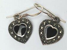 Sterling Silver Onyx Marcasite Earrings Pierced Dangle Hearts HALLMARKED SU