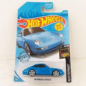 2019 Hot Wheels Nightburnerz 4/10 96 Porsche Carrera Blue 155/250 New