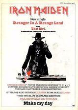 "8/11/86pg11 Single Advert 15x10"" Iron Maiden, Stranger In A Strange Land"