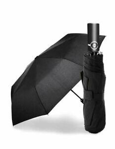 Men & Women Stormproof Automatic Strong Folding Windproof 8 Ribs Black Umbrella