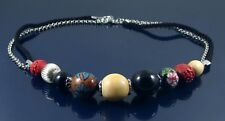 MULTI COLOURED WOODEN BEAD BLACK CORD THONG & SILVER CHAIN STATEMENT NECKLACE.