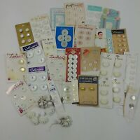 Button Lot Vintage White Round Plastic Lansing La Mode Cards Buttons Mixed Lot