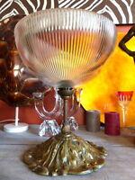 Superbe ancien suspension lustre globe vasque verre cristallin laiton doré 30cm