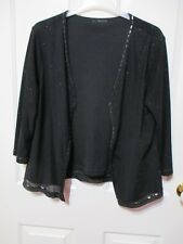 Ladies black knitted jersey see through short sleeved  top beaded  size 14