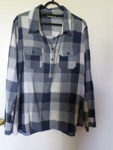 Blue/white check tunic shirt Tu size 20 100% cotton. 3 Button fasten front.