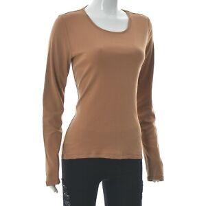 Bogner Women's Scoop Neck Casual Long Sleeve T-Shirt Light Brown Plain Size 40