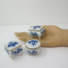 SET 3 different porcelain trinket boxes Round Square Rectangle Windmill & Flower