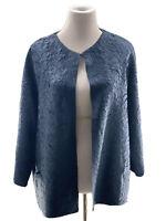 Chico's Jacket Sz 3 Dark Grayish Blue Crinklele Fabric 3/4 Sleeve