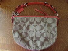 Coach Sateen Logo Purse Silver Hardware Coral Pink Leather Trim K0868