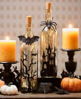 Lighted Halloween SPIDER BAT or SET Mercury Glass Bottles