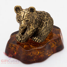 Solid Brass Amber Figurine of Baby Brown Bear Totem talisman IronWork