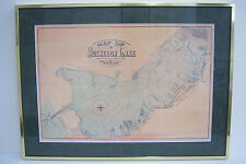 1884 MUSKEGON LAKE MAP, Michigan digital scan REPRINT matted framed Rand Mcnally