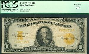 $10 Gold Cert 1922, Fr. #1173 PCGS Grade 20 VF