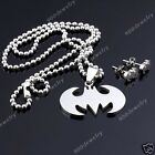 Batman Stainless Steel Pendant And Stud Earrings Set Free Shipping Tracking