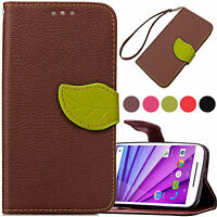For Motorola Moto G3 Case Luxury Retro Leather Wallet Flip Stand Back Cover