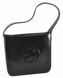 Authentic GUCCI Soho Enamel Shoulder Bag GG Black C8583