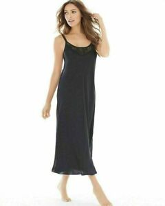 Soma Satin and Lace Tea Length Nightgown M Black Negligee $98