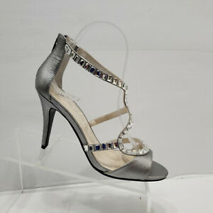 Caparros Idalia Rhinestone Stiletto Evening Sandals 7.5 B Pewter Metallic