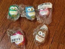 New Owl key chains with mini light flashlight blue pink green brown 5 pieces