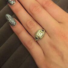 Vintage Antique Diamond Sapphire 18K White Gold Art Deco Ring Size 5.5