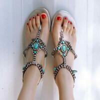 US4-16 GORGEOUS Women Sandals Flip Flop Boho Beach Flat Sandals Shoes Plus Size
