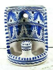Vintage 1950 EARLY Sanguino Toledo Spain Pottery Candle Holder Wall Sconce Blue