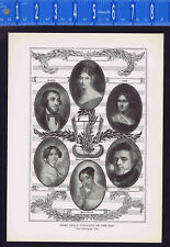 Great Vocalists of the Past-LaBlache-Grisi-Malibran-Lind-Pasta 1925 Music Print