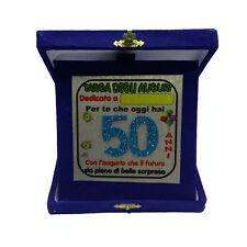 50 ANNI targa degli auguri compleanno personalizzabile blu glitter 14x14 cm
