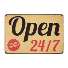 Metal Tin Sign  open 24/7 free entry Bar Pub Home Vintage Retro Poster Cafe ART