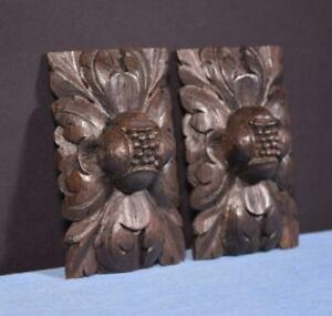 *Pair of French Antique Carved Oak Wood Trim Salvage