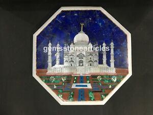 "18""x18"" White Marble Top Coffee Tale Taj Mahal Inlay Design Collectible Gift Art"