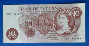 O'Brien Ten Shillings banknote J98 - circulated with light vertical fold