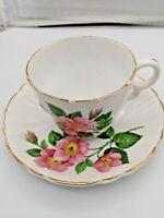 VINTAGE STANLEY BONE CHINA ENGLAND PINK FLORAL TEA CUP & SAUCER