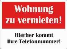 """wetterfestes Schild: """"Wohnung zu vermieten"""" 30x42cm"""