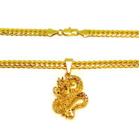 2 Piece Set 18k Yellow Gold Curb Link Chain Necklace And Dragon Pendant +GiftPkg
