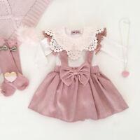 3PCS Kids Baby Girl Clothing T-shirt Tops+Strap Dress Skirt+Headband Outfits Set
