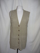 """Ladies Cardigan Sleeveles green M/L patterned knit lenth 31"""" buttons 0970"""