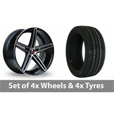 """4 x 19"""" Axe EX14 Black Polished Alloy Wheel Rims and Tyres -  245/35/19"""