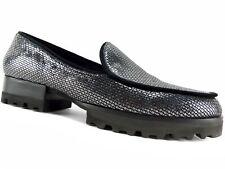 Donald J. Pliner Women's Elen Loafers Carbon Pebbled Metallic Leather Size 6 M