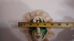 Oriental Decorative Wall Mask, White with Green Glitter / {Pre-Owned}.