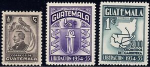 1946-56 Guatemala SC# 316-364 - Map Showing 2000 Km - 3 Different Stamps - M-H