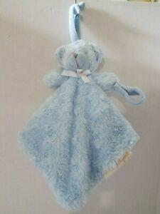 Blankets & Beyond Baby Security Blanket Lovey Blue Teddy Bear Pacifier Holder