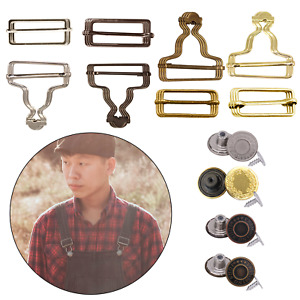 Dungaree Fasteners Set Jeans Buttons Tri Glides Slider Bar Buckles for Overalls