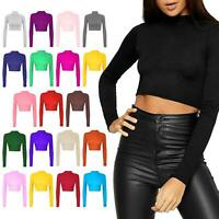 Women Ladies Plain Long Sleeve Turtle Polo Neck Cropped Top Short Length T-Shirt