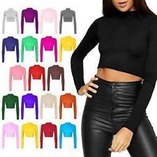 Women Ladies Plain Long Sleeve Turtle Polo Neck Cropped Top Short Length T-Shirt