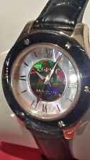 Korite Ammolite Woman's Watch w/Mother of Pearl & Genuine Black Leather Band