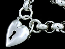 Massive SOLID 925 Sterling Silver Belcher-Link Heart PADLOCK Necklace 52cm Long