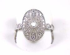 Fine Oval Filigree Cluster Diamond Milgrain Fashion Ring 14k White Gold .43Ct